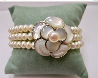ON SALE Sterling Silver and Freshwater Pearl Floral Bracelet Item K # 1363