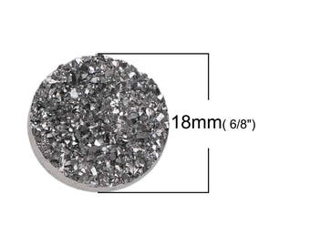 Grey 18mm resin druzy round cabochon