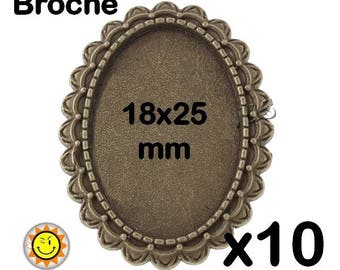 10 supports bronze fancy brooch cabochon 18x25mm