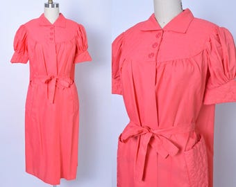 Vintage 1950s Robe 50s Salmon Pink Peignoir Dressing Gown Housecoat