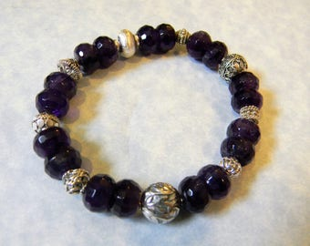 Deep Purple Faceted Amethyst and Bali Silver Stretch Bracelet