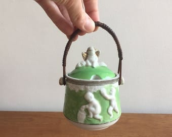 Antique Condiment pot with lid and cane handle, cherubs, shabby chic, gilt, romantic, classical