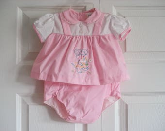 2 piece vintage baby dress and diaper cover - 6 months - by Catton Candy - New on hanger