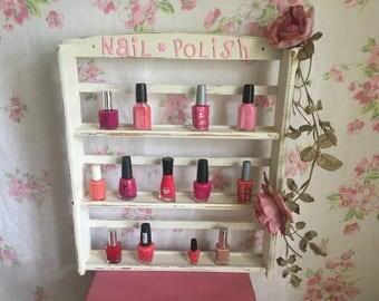 Vintage Wood shelf, nail polish shelf, spice rack, shabby chic white shelf, OOAK shelf, knick knack holder, medicines holder
