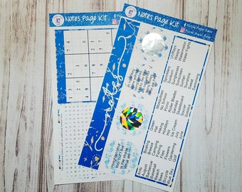 Monthly notes page sticker kit