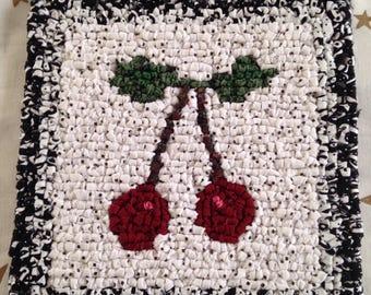 Locker Hooking Trivet - Cherries