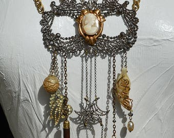 Vintage Cameo Victorian Cut Steel Buckle Chatelaine Statement Necklace