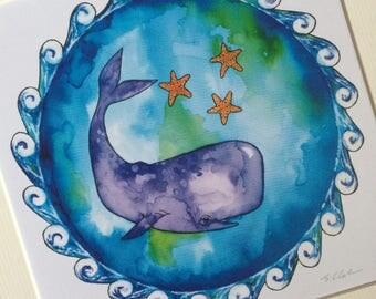 Whale, world print