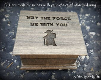 Star Wars music box, music boxes, star wars theme gift, May the Force Be with you, star wars music box, yoda, darth vader, simplycoolgifts,