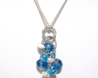 Vibrant Blue Cluster Necklace, Blue & White, White shell bird, Silver Chain, Free Shipping, 18 inches, Summer Color