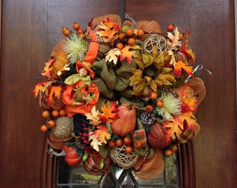 Fall Witch Burlap and Mesh Wreath