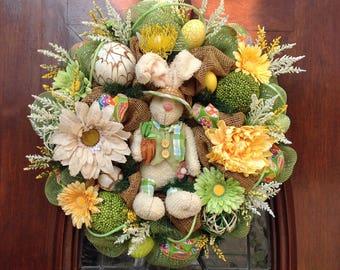 Fleecy Bunny Burlap and Mesh Wreath