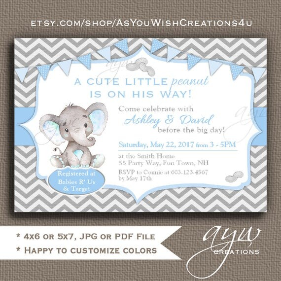Elephant baby shower invitation boy elephant baby boy shower invites il570xn filmwisefo