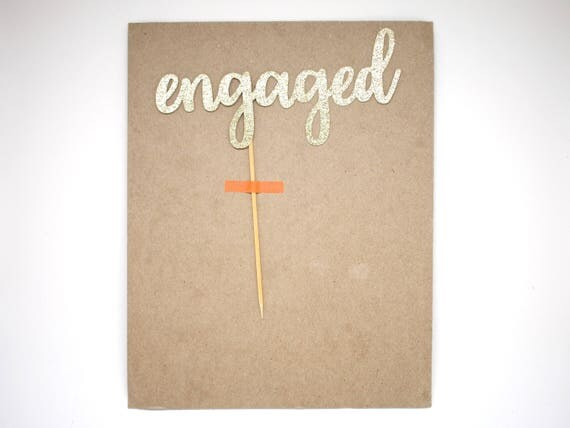 """SALE - Engaged Cake Topper - Gold Glitter - 6.0"""" - Wedding. Engagement Cake Topper. Engagement Party. Valentine's Day."""