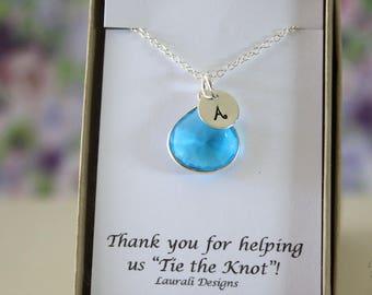 10 Monogram Bridesmaid Necklace Blue, Bridesmaid Gift, Zircon Quartz, Sterling Silver, Initial Jewelry, Personalized, Jr Bridesmaid Gift