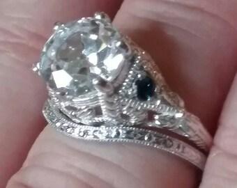 Art Nouveau Engagement Ring Set, Sapphire Engagement Ring Set
