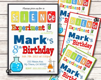 Science Theme Party Personalized Birthday Invitation Print at Home Digital File