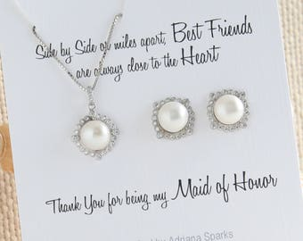 Maid of Honor Gift, Pearl Jewelry Set, Maid of Honor Proposal, Maid of Honor Sister Gift, Bridesmaid Gift Idea, Bridesmaid jewelry