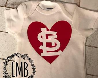 St. Louis Cardinals heart onesie STL Cardinals