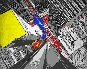 Abstract Neo-Plasticism City Comes to Life, The Primary Hustle and Bustle - 8x10 Inch Print