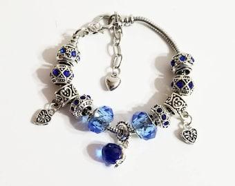 Blue Crystal European Style Bracelet  Unbranded