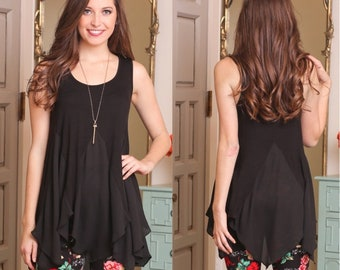 Gorgeous Black Sleeveless Asymmetrical Tunic for Women | Must-Have for Spring and Summer!