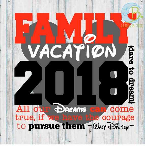 INSTANT DOWNLOAD Disney Family Vacation 2018 Shirts Printable DIY Iron On to Tee T-Shirt Transfer - Digital File