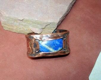copper cuff, textured cuff, lapis cuff, unisex cuff, rustic jewelry,