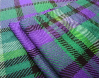 Vintage 1980s  wool fabric colorful plaid medium to light weight 2 yards 62 inches wide