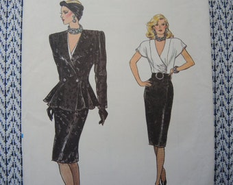 vintage 1980s Vogue sewing pattern 9683 misses jacket skirt and blouse size 6-8-10 UNCUT