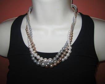 RMN bead necklace, twist bead necklace, estate jewelry