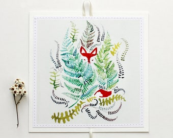 "Sewn Postcards, mini art-prints, hanging postcards - ""Fox In The Ferns"""
