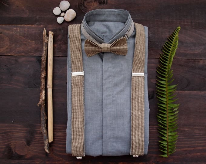 Wedding suspenders set, Linen suspenders and bow tie, Light brown suspenders set, set of linen braces and bowtie, Linen suspenders set