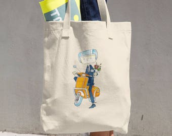 Agent Bird Scooter - Cotton Tote Bag
