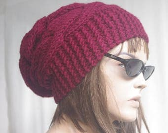 Womens hat - chunky knit Slouchy BURGUNDY  Beanie Slouch Hat Fall Winter Accessories Beanie Autumn Christmas Fashion