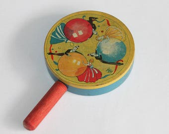 Vintage Tin Litho Noisemaker by T. Cohn Made in USA - New Year's Eve Rattle Shaker Noise Maker 1940's