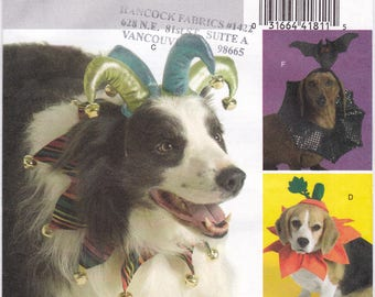 FF Butterick 5117 Pet Costumes Craft Sewing Pattern, Dog Hats, Jester Crown, Flower, Witch, Pumpkin +, Size XS Small Medium Large, UNCUT