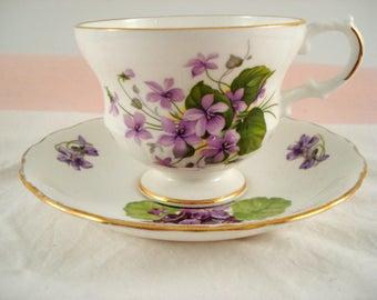 Vintage Mismatched Teacup and Saucer Purple Violets Royal Dover Melba Bone China England Shabby Cottage Chic Vintage Tea Party