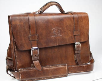"Leather Messenger Bag,  Leather Briefcase, Leather shoulder bag, Macbook Pro, 15"" - 169"