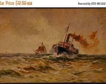ON SALE Vintage Antique Art Painting Color Postcard 387 HK & M Two Shipping Boats on a Rough Sea Gorgeous Art! Artist signed c1900s