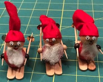 Vintage Handmade Skiing Wood Santa Claus Figurines