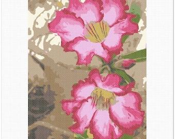 Needlepoint Kit or Canvas: Adenium Desert Flower