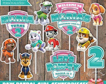 Paw Patrol Theme Pink and Turquoise Everest Birthday Centerpieces Digital Download