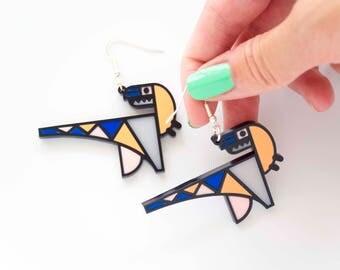 Dinosaur Earrings. Laser Cut Memphis style dinosaur dangly earrings. Gift for her. Statement raptor drop earrings. silver plated hooks.