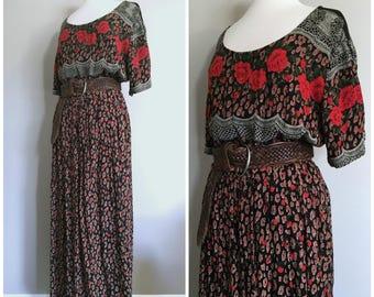 Vintage BOHO PRINTED MAXI Dress/Floral Maxi Dress/Free Size/Small-Medium-Large-XLarge