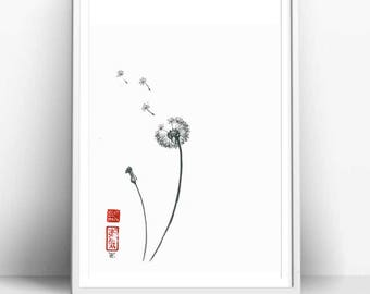 "Original Art ""Dandelion"", Japanese sumi-e, asian painting, Wall decor,home decor, black and white, minimalist art, gift for her"