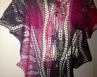 black hand - knitted wool shawl fuchsia
