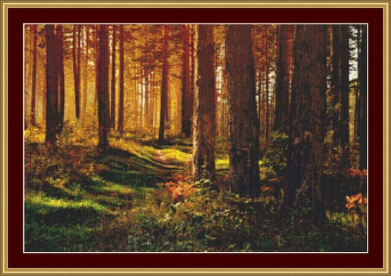 September In The Forest Cross Stitch Pattern /Digital PDF Files /Instant downloadable