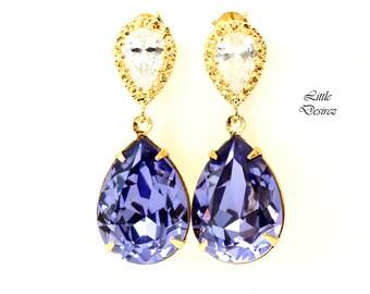 Purple Bridal Earrings Tanzanite Earrings Purple & Gold Earrings Swarovski Earrings Lavender Earring Lilac Earring Purple Jewelry TZ31P
