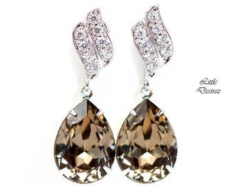 Brown Earrings Crystal Earrings Bridesmaid Earrings Bridal Earrings Swarovski Earrings Taupe Jewelry Nude Jewelry Dangle Earrings GB31P